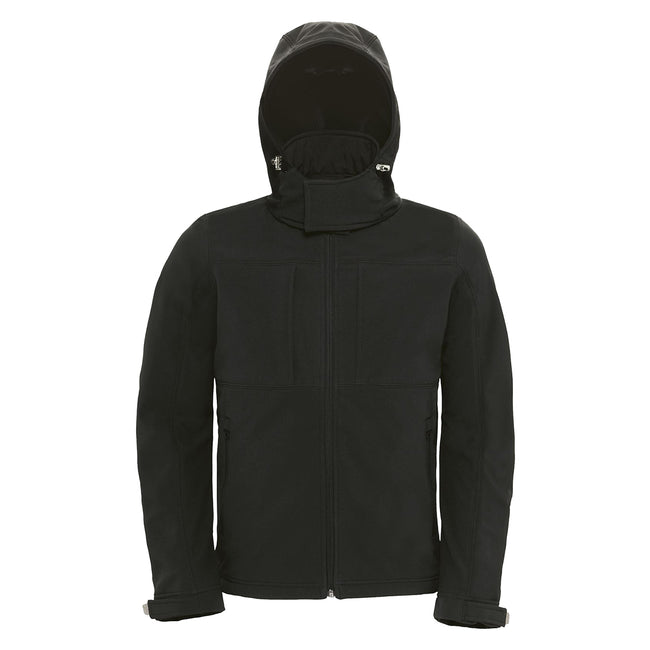 Red - Front - B&C Mens Hooded Softshell Breathable, Waterproof & Windproof Jacket (Fleece Lining)