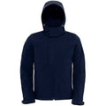 Navy Blue - Front - B&C Mens Hooded Softshell Breathable, Waterproof & Windproof Jacket (Fleece Lining)