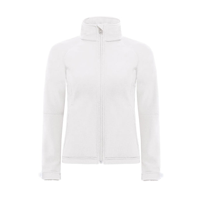 Azure Blue - Front - B&C Womens Hooded Premium Softshell Jacket (Windproof, Waterproof & Breathable)