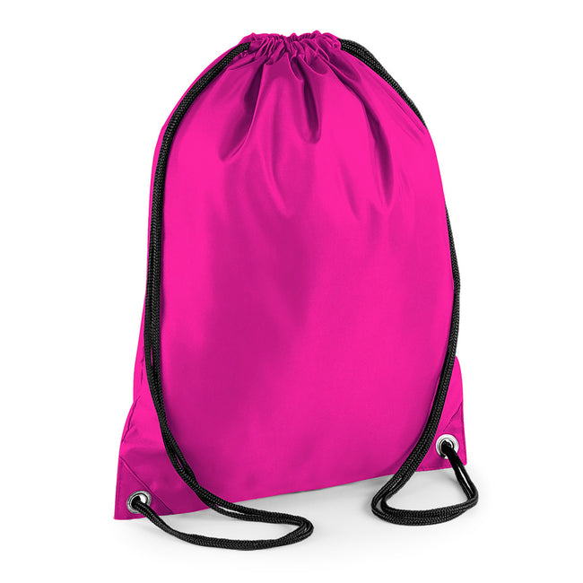Fuchsia - Front - BagBase Budget Water Resistant Sports Gymsac Drawstring Bag (11 Litres)