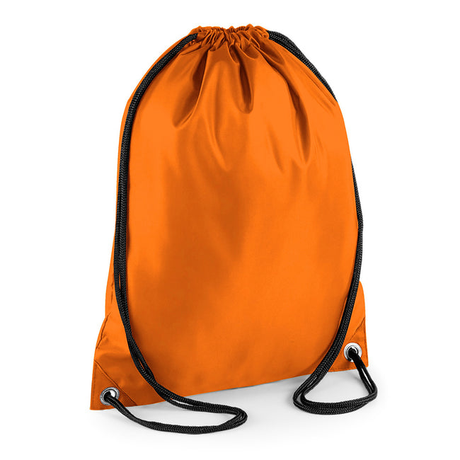 Orange - Front - BagBase Budget Water Resistant Sports Gymsac Drawstring Bag (11 Litres)