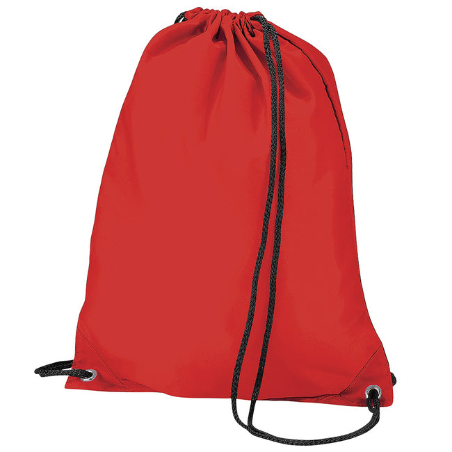 Red - Front - BagBase Budget Water Resistant Sports Gymsac Drawstring Bag (11 Litres)