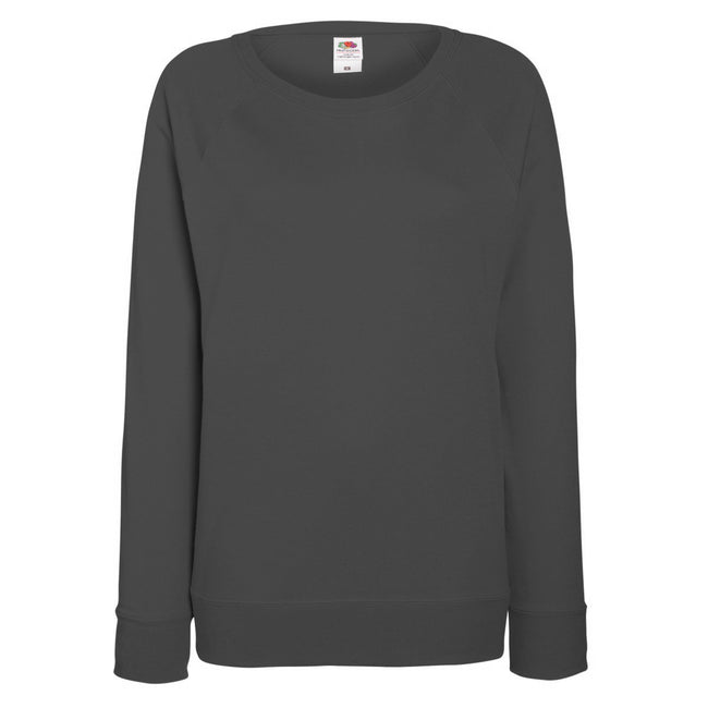 Light Graphite - Front - Fruit OF The Loom Ladies Fitted Lightweight Raglan Sweatshirt (240 GSM)