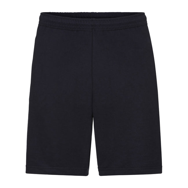 Black - Front - Fruit Of The Loom Mens Lightweight Casual Fleece Shorts (240 GSM)