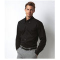 Black - Side - Kustom Kit Mens Slim Fit Long Sleeve Business - Work Shirt