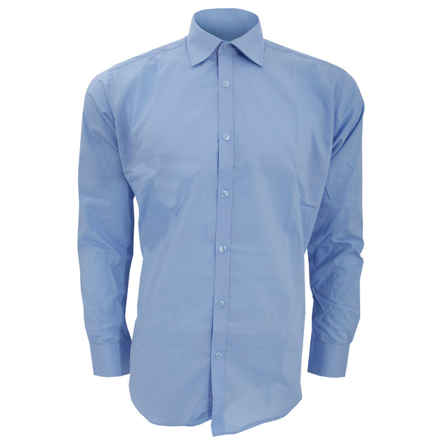 Light Blue - Front - Kustom Kit Mens Slim Fit Long Sleeve Business - Work Shirt
