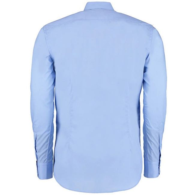 Light Blue - Back - Kustom Kit Mens Slim Fit Long Sleeve Business - Work Shirt