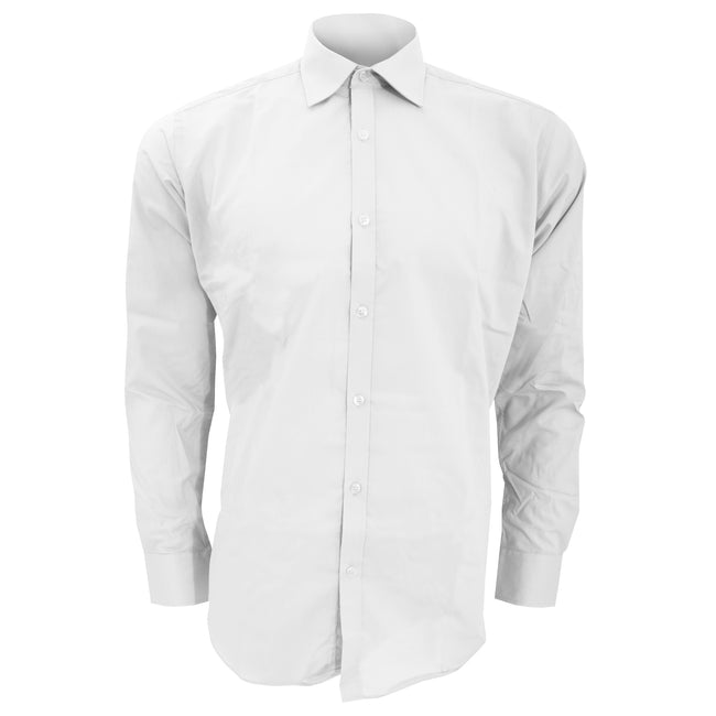 White - Front - Kustom Kit Mens Slim Fit Long Sleeve Business - Work Shirt