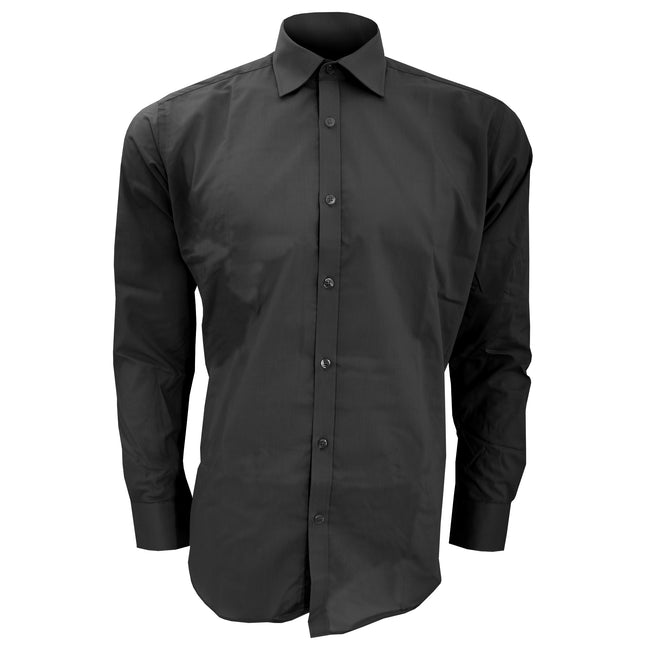 Black - Front - Kustom Kit Mens Slim Fit Long Sleeve Business - Work Shirt