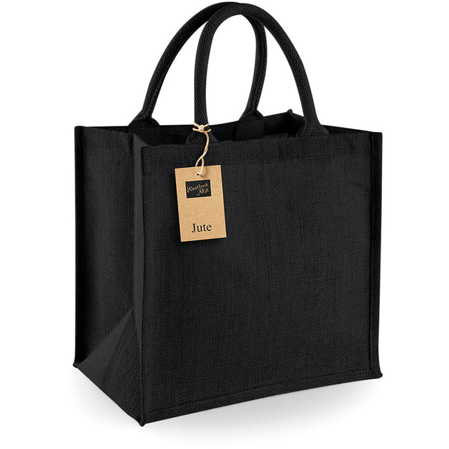 Black - Side - Westford Mill Jute Mini Tote Shopping Bag (14 Litres)