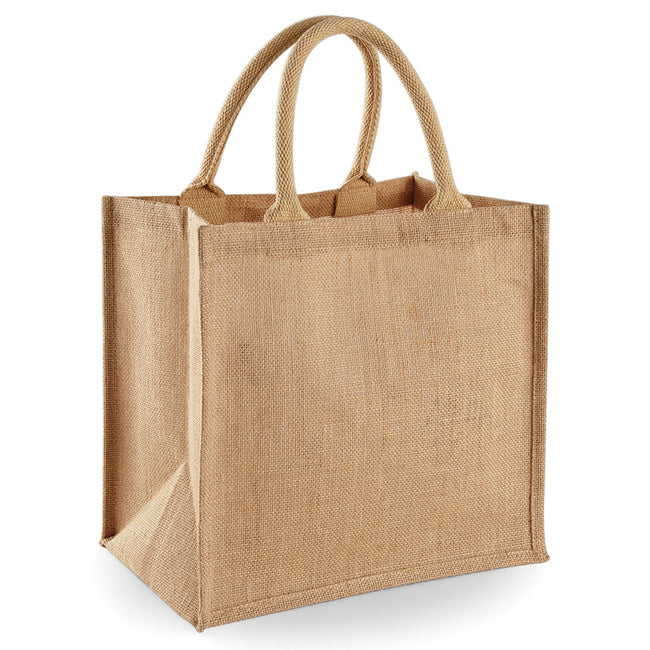 Natural - Front - Westford Mill Jute Mini Tote Shopping Bag (14 Litres)