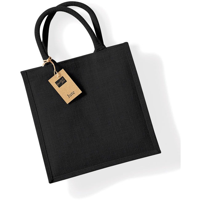 Black - Front - Westford Mill Jute Mini Tote Shopping Bag (14 Litres)
