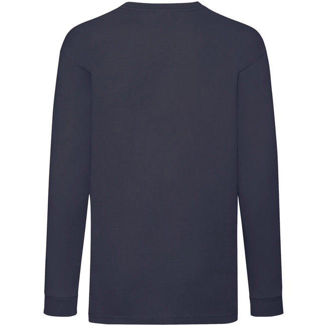 Deep Navy - Back - Fruit Of The Loom Childrens-Kids Long Sleeve T-Shirt
