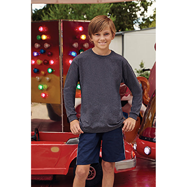 Deep Navy - Side - Fruit Of The Loom Childrens-Kids Long Sleeve T-Shirt