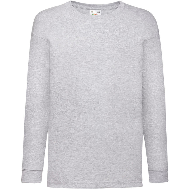 Heather Grey - Front - Fruit Of The Loom Childrens-Kids Long Sleeve T-Shirt