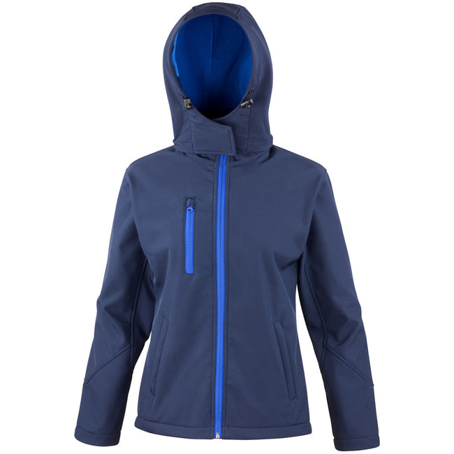 Navy-Royal - Front - Result Core Womens-Ladies Lite Hooded Softshell Jacket