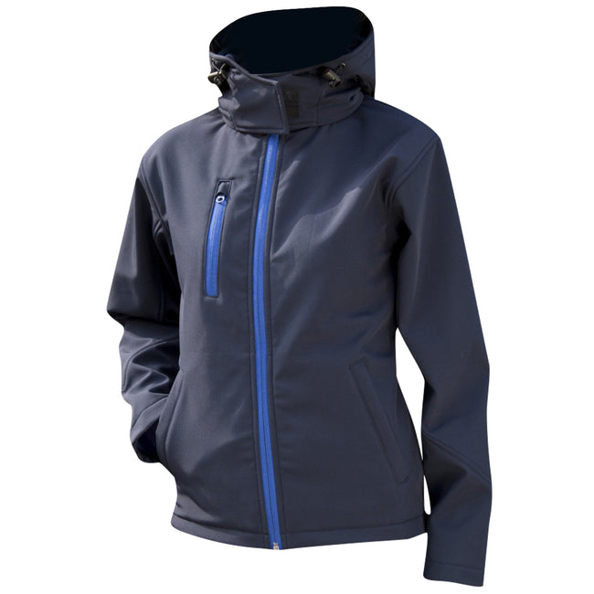 Navy-Royal - Side - Result Core Womens-Ladies Lite Hooded Softshell Jacket