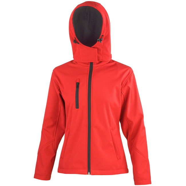 Red-Black - Front - Result Core Womens-Ladies Lite Hooded Softshell Jacket