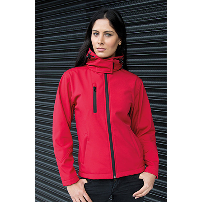 Red-Black - Side - Result Core Womens-Ladies Lite Hooded Softshell Jacket