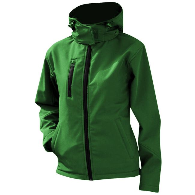 Vivid Green-Black - Front - Result Core Womens-Ladies Lite Hooded Softshell Jacket