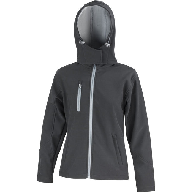 Black-Grey - Front - Result Core Womens-Ladies Lite Hooded Softshell Jacket