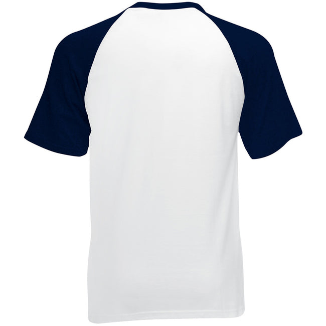 White-Deep Navy - Side - Fruit Of The Loom Mens Short Sleeve Baseball T-Shirt