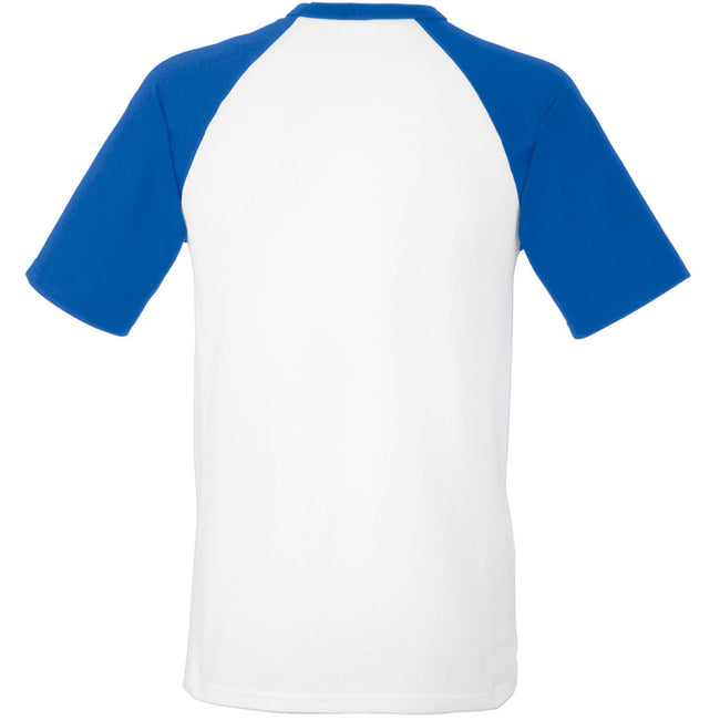 White-Royal Blue - Back - Fruit Of The Loom Mens Short Sleeve Baseball T-Shirt