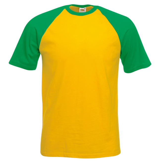 Sunflower-Kelly Green - Front - Fruit Of The Loom Mens Short Sleeve Baseball T-Shirt
