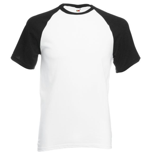 White-Black - Front - Fruit Of The Loom Mens Short Sleeve Baseball T-Shirt