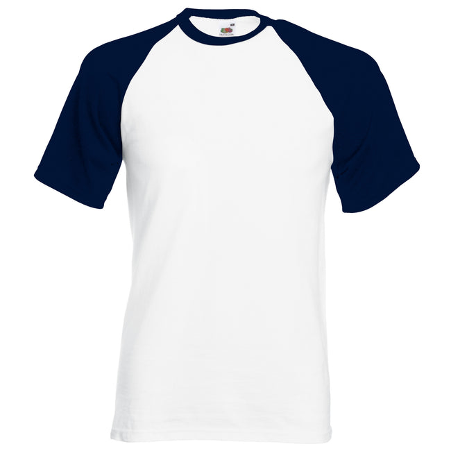 White-Deep Navy - Back - Fruit Of The Loom Mens Short Sleeve Baseball T-Shirt