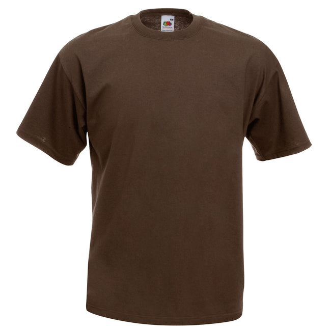 Chocolate - Front - Fruit Of The Loom Mens Valueweight Short Sleeve T-Shirt