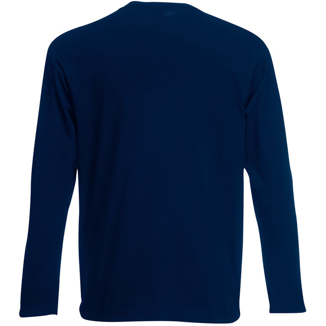 Deep Navy - Back - Fruit Of The Loom Mens Valueweight Crew Neck Long Sleeve T-Shirt