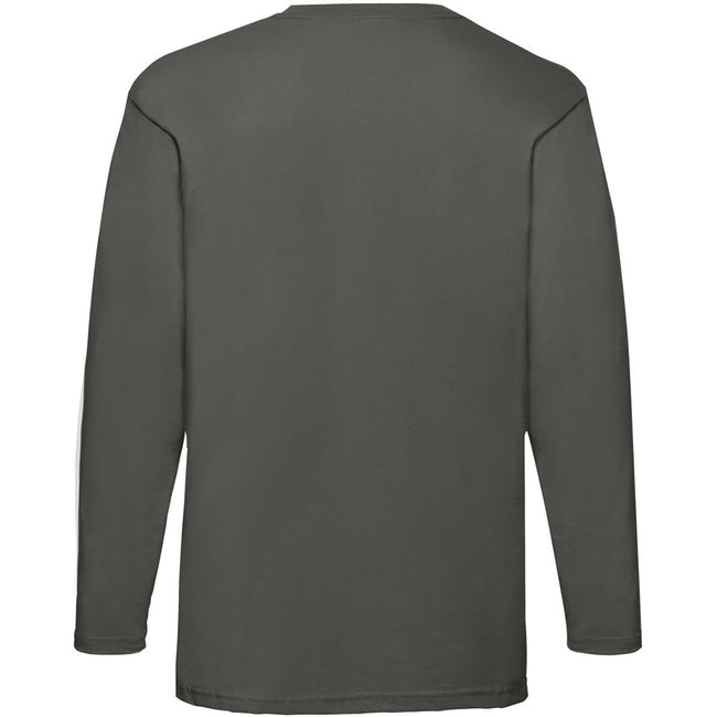 Light Graphite - Back - Fruit Of The Loom Mens Valueweight Crew Neck Long Sleeve T-Shirt