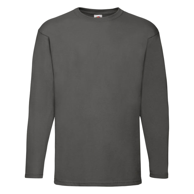 Dark Heather - Front - Fruit Of The Loom Mens Valueweight Crew Neck Long Sleeve T-Shirt