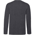 Dark Heather - Back - Fruit Of The Loom Mens Valueweight Crew Neck Long Sleeve T-Shirt