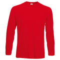 Red - Front - Fruit Of The Loom Mens Valueweight Crew Neck Long Sleeve T-Shirt