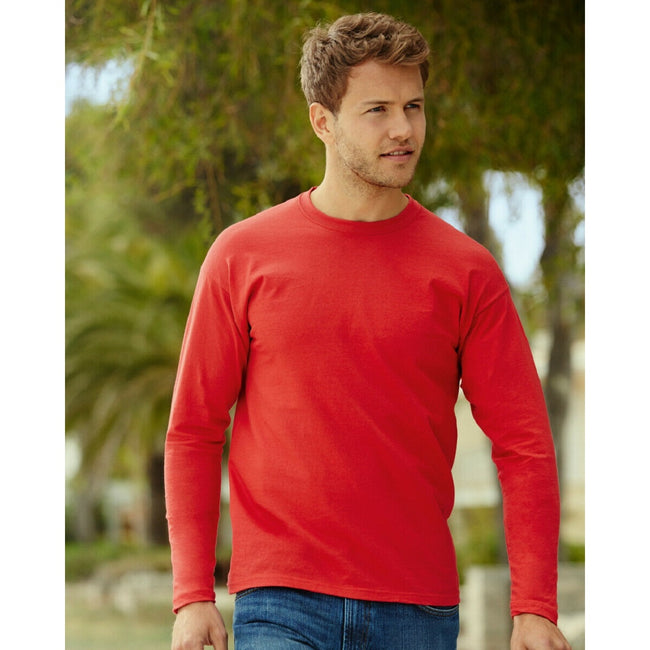 Red - Back - Fruit Of The Loom Mens Valueweight Crew Neck Long Sleeve T-Shirt