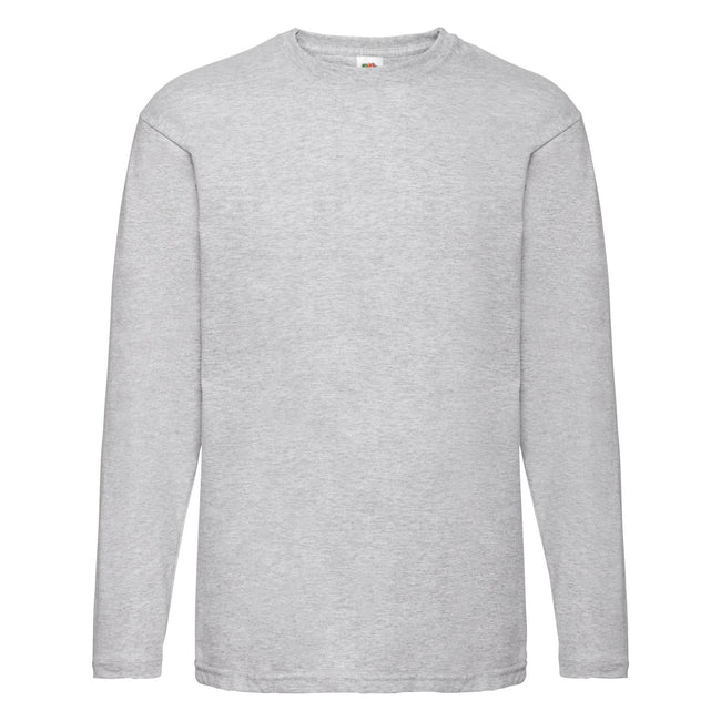 Heather Grey - Side - Fruit Of The Loom Mens Valueweight Crew Neck Long Sleeve T-Shirt