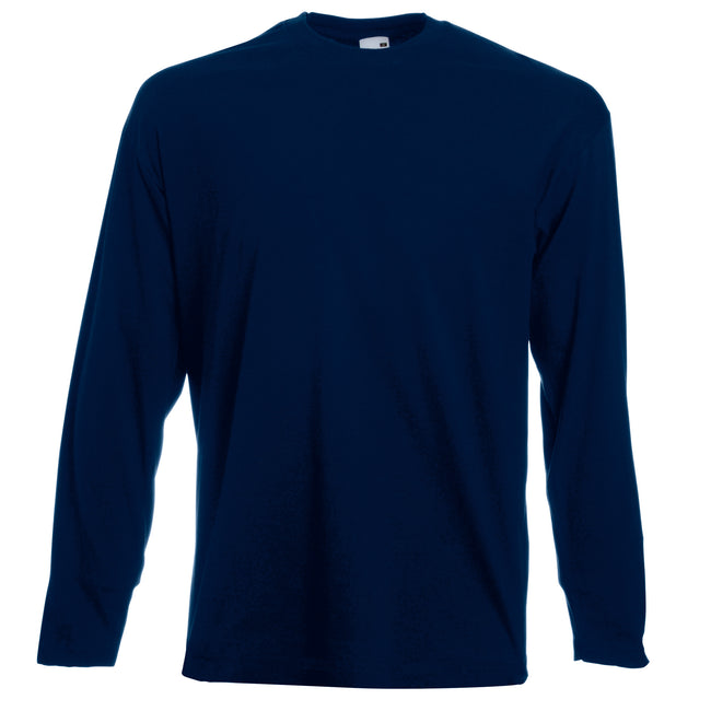Deep Navy - Front - Fruit Of The Loom Mens Valueweight Crew Neck Long Sleeve T-Shirt