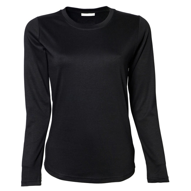 Black - Front - Tee Jays Womens-Ladies Interlock Long Sleeve T-Shirt