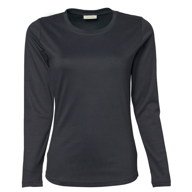 Dark Grey - Front - Tee Jays Womens-Ladies Interlock Long Sleeve T-Shirt