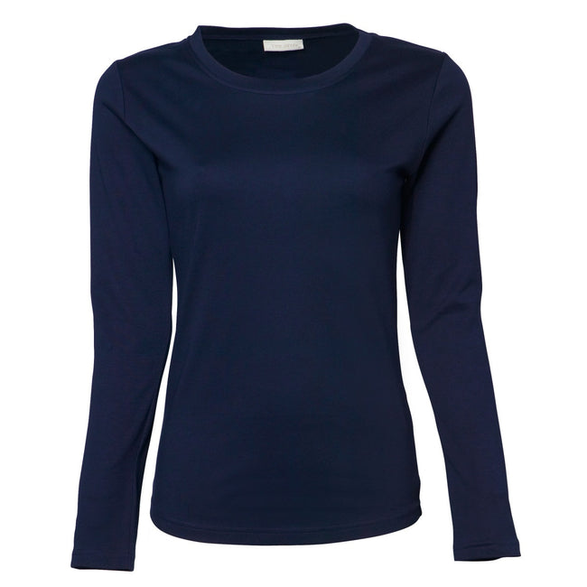 Navy Blue - Front - Tee Jays Womens-Ladies Interlock Long Sleeve T-Shirt