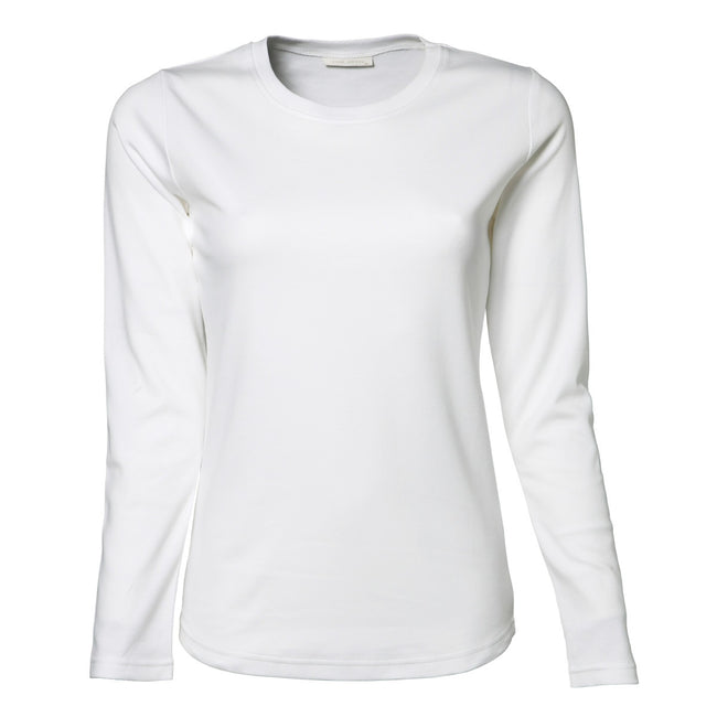 White - Front - Tee Jays Womens-Ladies Interlock Long Sleeve T-Shirt