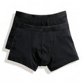Black - Back - Fruit Of The Loom Mens Classic Shorty Cotton Rich Boxer Shorts (Pack Of 2)
