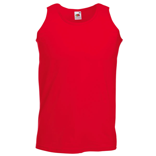 Red - Front - Fruit Of The Loom Mens Athletic Sleeveless Vest - Tank Top