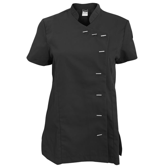 Black - Front - Dennys Womens-Ladies Asymmetric Stud Fastening Beauty Tunic