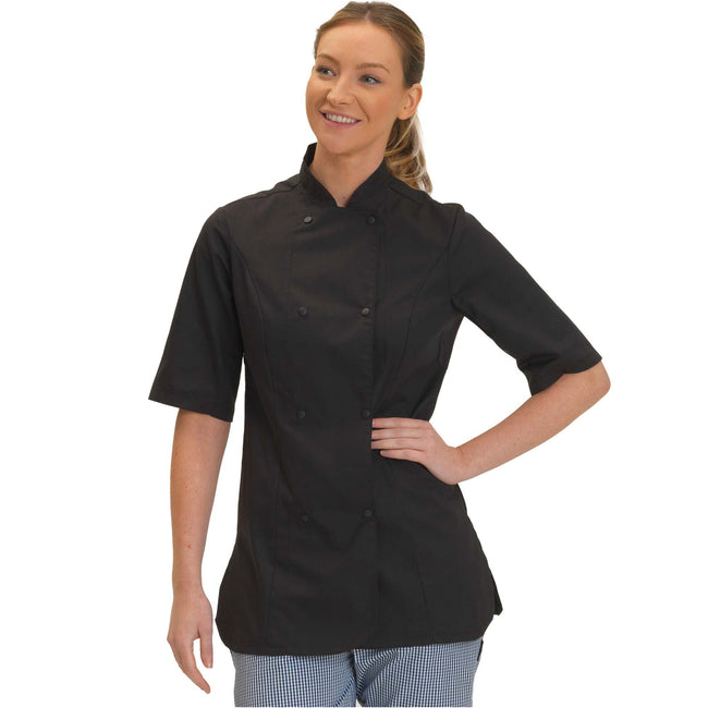 Black - Front - Dennys Womens-Ladies Short Sleeve Fitted Chef Jacket
