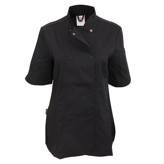 White - Front - Dennys Womens-Ladies Short Sleeve Fitted Chef Jacket