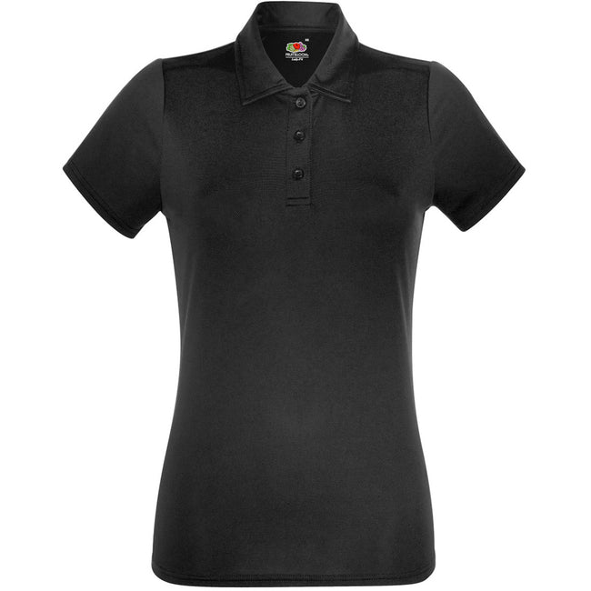 Black - Front - Fruit Of The Loom Womens-Ladies Short Sleeve Moisture Wicking Performance Polo Shirt