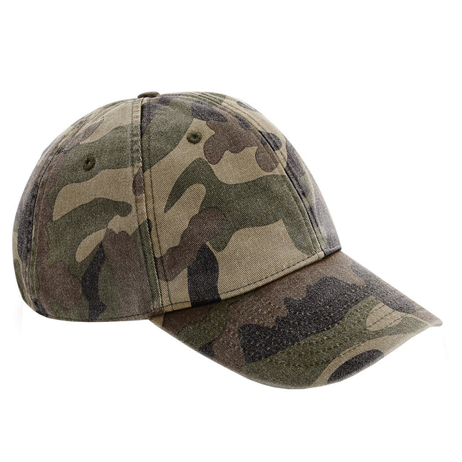 Vintage Jungle Camo - Front - Beechfield Unisex Low Profile Vintage Denim-Look Cap
